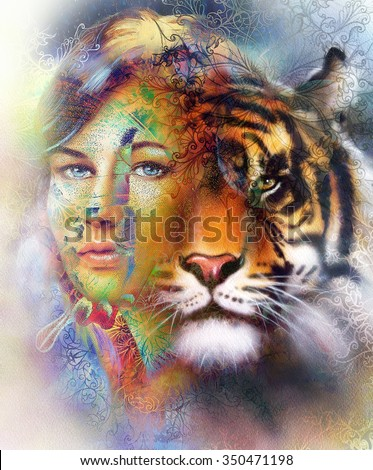 painting of a bright mighty tiger head on ornamental background and mystic woman face, computer collage