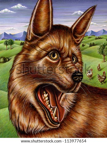 Painting of a fox with his mouth open - stock photo