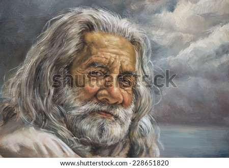 painting of a man with a white beard - stock photo