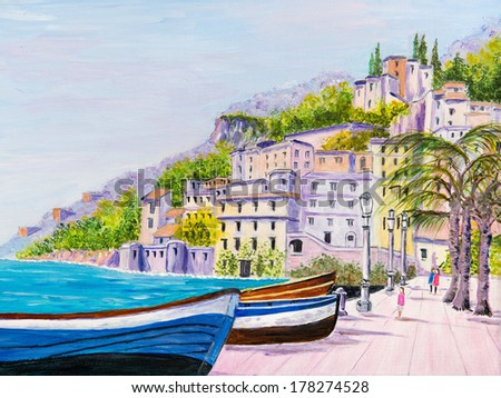 Painting of a relaxing Promenade - stock photo
