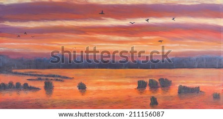 Painting of a sunset over marshland, birds in the sky