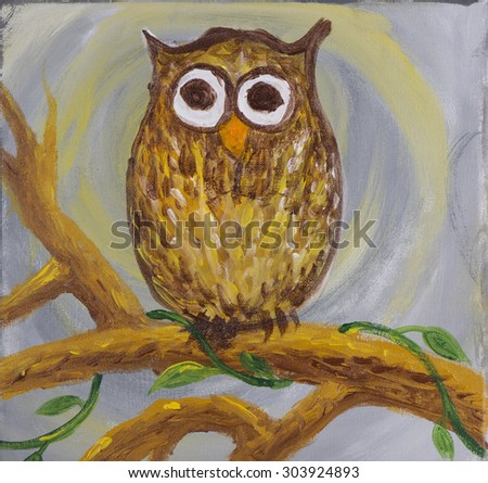 Painting of a surprised looking owl with big round eyes coloured in brown sat on branch with some creepy crawlers on acrylic