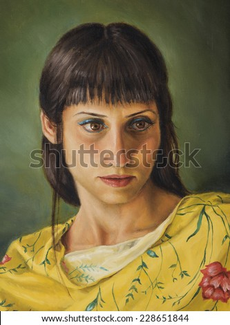 painting of a young woman with yellow t-shirt - stock photo