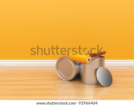 Painting of an empty orange wall. Renovation house. 3D illustration - stock photo