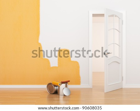 Painting of an empty room. Renovation house. 3D illustration - stock photo