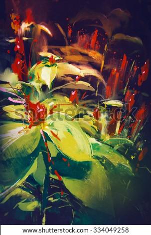 painting of blooming wildflowers in dark background - stock photo