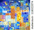 painting of city ,abstract geometric colorful pattern - stock photo