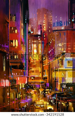 painting of city night scene with colorful lights,illustration