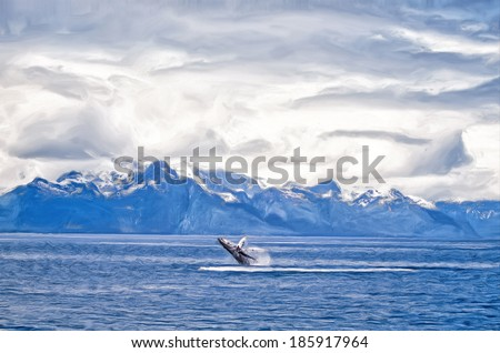 Painting of Humpback whale breach, Alaska mountain background - stock photo