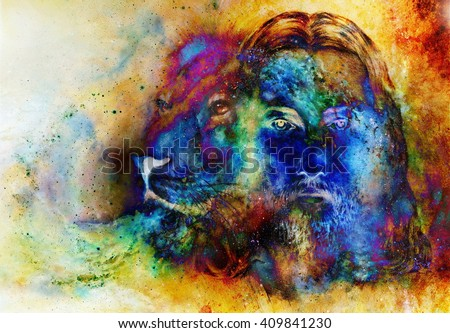 painting of Jesus with a lion, on beautiful colorful background with hint of space feeling, lion profile portrait - stock photo