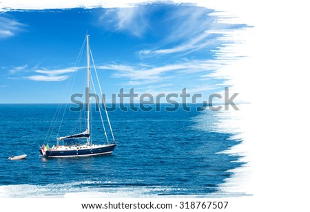 Painting of luxury yacht in open waters with beautiful clouds and copy space