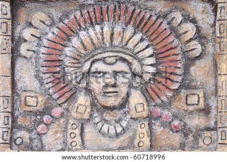 Painting of maya people - stock photo