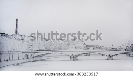 Painting of Paris, France, painted by pencil