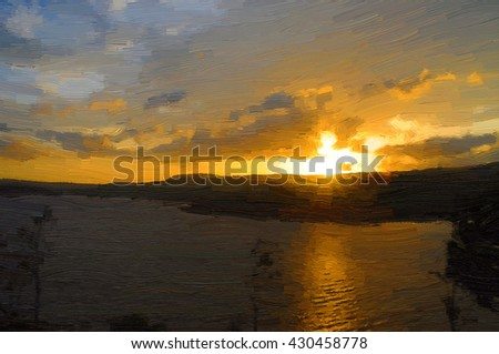 Painting of river sunset.
