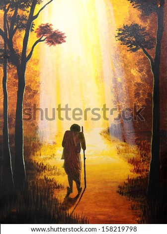 Painting of spiritual, hope, freedom theme - stock photo