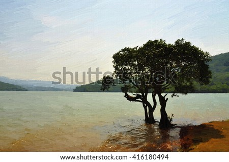 Painting of tree inside the water.