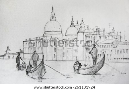 Painting of Venice Italy, painted by pencil - stock photo