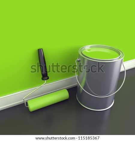 Painting of walls in a green paint. Decorating of house. 3d render