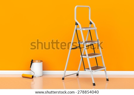 Painting of walls in a orange color. Paint can with roller brush and Ladder - stock photo