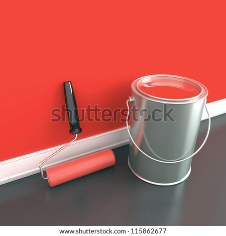 Painting of walls in a red paint. Decorating of house. 3d illustration