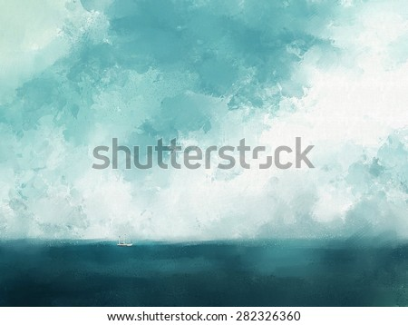painting of yacht and blue ocean - stock photo