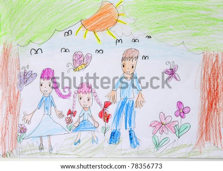 Painting of 6 years old child. My Father and Mother. - stock photo