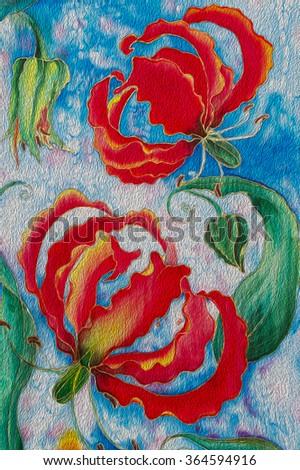 Painting on silk flowers buds gloriosa stock illustration 364594916 painting on silk flowers and buds gloriosa mightylinksfo
