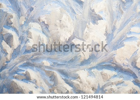 painting on the frozen window by the frost - nobody - stock photo