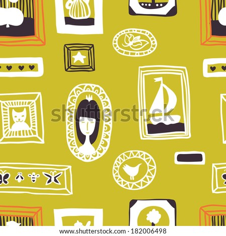 Painting on the wall green seamless pattern. Raster version. - stock photo