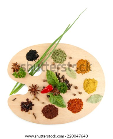 Painting palette with various spices and herbs, isolated on white - stock photo