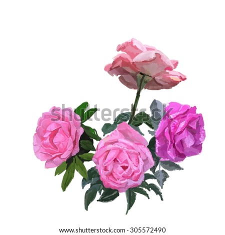 Painting pink rose bouquet, fine realism, romantic flowers - stock photo