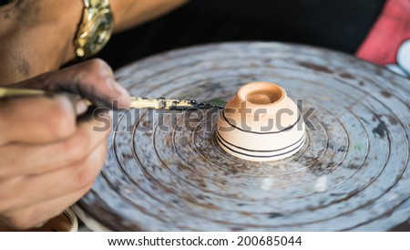 Painting porcelain antique style and antique equipment - stock photo