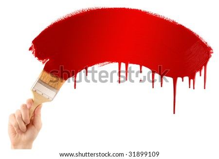 Painting red banner - stock photo