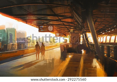 painting showing couple waiting a train on the station - stock photo