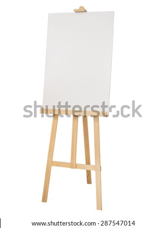 Painting stand wooden easel with blank canvas poster sign board isolated - stock photo
