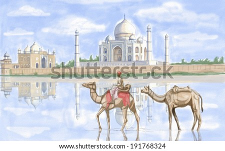 painting style illustration of Taj Mahal India - stock photo