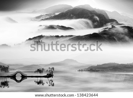 Painting style of chinese landscape for adv or others purpose use - stock photo