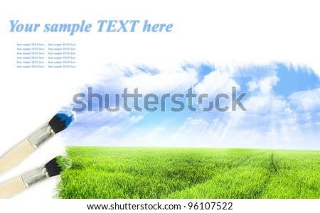 Painting summer landscape with blue sky - stock photo