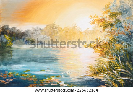 painting - sunset on the lake, bright sunset - stock photo