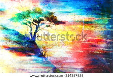 Painting sunset, sea and tree, wallpaper landscape, color collage - stock photo