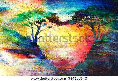 Painting sunset, sea and tree, wallpaper landscape, color collage. Hugging the trees creates a heart shape on a beautiful sunny yellowish red color, romantic concept - stock photo
