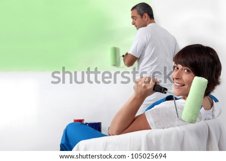 Painting the house - stock photo