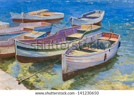 Painting.The picture is written by me in 2012. Used paper and gouache. Drawing moored boats.
