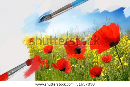 Painting the summer - stock photo