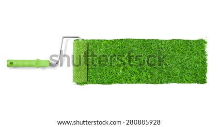 Painting the wall with grass