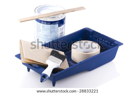 Painting tools with paint pot on a white background.