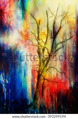 Painting tree in night landscape and abstract grunge background with spots, original hand draw and computer collage - stock photo