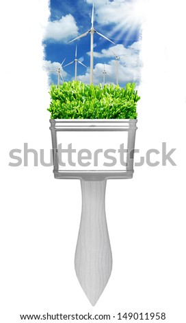 painting windmill landscape with brushes  - stock photo