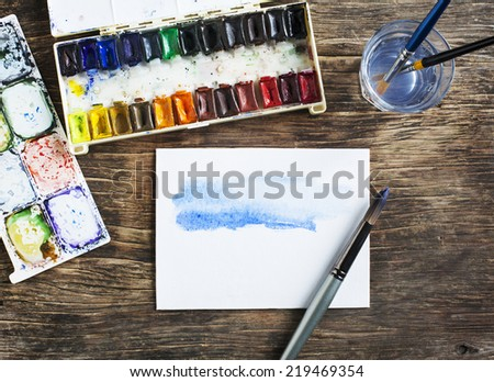 Painting with watercolor. Selective focus - stock photo