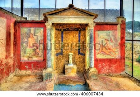 Paintings in the House of Loreius Tiburtinus - Pompeii, Italy - stock photo